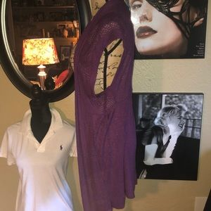 Absolutely Creative Worldwide Tops - Purple Lengthy Short Sleeve Cardigan
